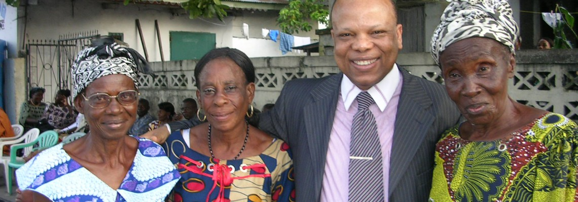 Maman Catherine Ewaso and Maman Kwikwi with George Alula
